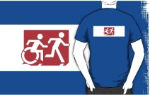 Accessible Means of Egress Icon Exit Sign Wheelchair Wheelie Running Man Symbol by Lee Wilson PWD Disability Emergency Evacuation Adult T-shirt 269
