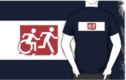 Accessible Means of Egress Icon Exit Sign Wheelchair Wheelie Running Man Symbol by Lee Wilson PWD Disability Emergency Evacuation Adult T-shirt 270