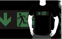 Accessible Means of Egress Icon Exit Sign Wheelchair Wheelie Running Man Symbol by Lee Wilson PWD Disability Emergency Evacuation Adult T-shirt 27