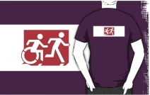 Accessible Means of Egress Icon Exit Sign Wheelchair Wheelie Running Man Symbol by Lee Wilson PWD Disability Emergency Evacuation Adult T-shirt 271