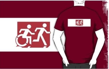 Accessible Means of Egress Icon Exit Sign Wheelchair Wheelie Running Man Symbol by Lee Wilson PWD Disability Emergency Evacuation Adult T-shirt 272