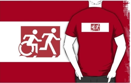 Accessible Means of Egress Icon Exit Sign Wheelchair Wheelie Running Man Symbol by Lee Wilson PWD Disability Emergency Evacuation Adult T-shirt 273