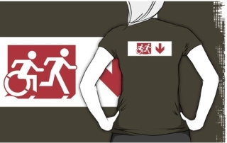 Accessible Means of Egress Icon Exit Sign Wheelchair Wheelie Running Man Symbol by Lee Wilson PWD Disability Emergency Evacuation Adult T-shirt 274