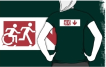 Accessible Means of Egress Icon Exit Sign Wheelchair Wheelie Running Man Symbol by Lee Wilson PWD Disability Emergency Evacuation Adult T-shirt 275