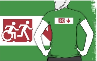 Accessible Means of Egress Icon Exit Sign Wheelchair Wheelie Running Man Symbol by Lee Wilson PWD Disability Emergency Evacuation Adult T-shirt 276