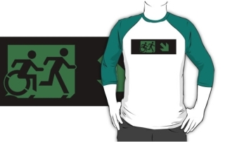 Accessible Means of Egress Icon Exit Sign Wheelchair Wheelie Running Man Symbol by Lee Wilson PWD Disability Emergency Evacuation Adult T-shirt 277