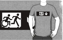 Accessible Means of Egress Icon Exit Sign Wheelchair Wheelie Running Man Symbol by Lee Wilson PWD Disability Emergency Evacuation Adult T-shirt 278