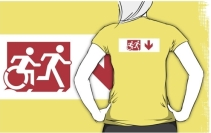 Accessible Means of Egress Icon Exit Sign Wheelchair Wheelie Running Man Symbol by Lee Wilson PWD Disability Emergency Evacuation Adult T-shirt 279