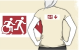Accessible Means of Egress Icon Exit Sign Wheelchair Wheelie Running Man Symbol by Lee Wilson PWD Disability Emergency Evacuation Adult T-shirt 280