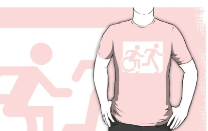 Accessible Means of Egress Icon Exit Sign Wheelchair Wheelie Running Man Symbol by Lee Wilson PWD Disability Emergency Evacuation Adult T-shirt 28