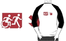 Accessible Means of Egress Icon Exit Sign Wheelchair Wheelie Running Man Symbol by Lee Wilson PWD Disability Emergency Evacuation Adult T-shirt 281