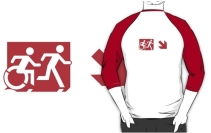 Accessible Means of Egress Icon Exit Sign Wheelchair Wheelie Running Man Symbol by Lee Wilson PWD Disability Emergency Evacuation Adult T-shirt 282