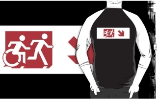Accessible Means of Egress Icon Exit Sign Wheelchair Wheelie Running Man Symbol by Lee Wilson PWD Disability Emergency Evacuation Adult T-shirt 283