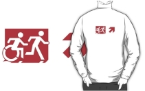 Accessible Means of Egress Icon Exit Sign Wheelchair Wheelie Running Man Symbol by Lee Wilson PWD Disability Emergency Evacuation Adult T-shirt 284