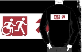 Accessible Means of Egress Icon Exit Sign Wheelchair Wheelie Running Man Symbol by Lee Wilson PWD Disability Emergency Evacuation Adult T-shirt 286