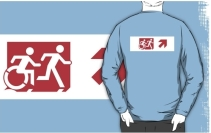 Accessible Means of Egress Icon Exit Sign Wheelchair Wheelie Running Man Symbol by Lee Wilson PWD Disability Emergency Evacuation Adult T-shirt 287