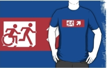 Accessible Means of Egress Icon Exit Sign Wheelchair Wheelie Running Man Symbol by Lee Wilson PWD Disability Emergency Evacuation Adult T-shirt 288