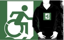 Accessible Means of Egress Icon Exit Sign Wheelchair Wheelie Running Man Symbol by Lee Wilson PWD Disability Emergency Evacuation Adult T-shirt 289