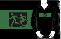Accessible Means of Egress Icon Exit Sign Wheelchair Wheelie Running Man Symbol by Lee Wilson PWD Disability Emergency Evacuation Adult T-shirt 290