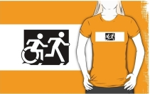 Accessible Means of Egress Icon Exit Sign Wheelchair Wheelie Running Man Symbol by Lee Wilson PWD Disability Emergency Evacuation Adult T-shirt 29