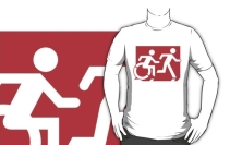 Accessible Means of Egress Icon Exit Sign Wheelchair Wheelie Running Man Symbol by Lee Wilson PWD Disability Emergency Evacuation Adult T-shirt 291