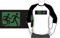 Accessible Means of Egress Icon Exit Sign Wheelchair Wheelie Running Man Symbol by Lee Wilson PWD Disability Emergency Evacuation Adult T-shirt 292