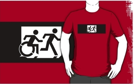 Accessible Means of Egress Icon Exit Sign Wheelchair Wheelie Running Man Symbol by Lee Wilson PWD Disability Emergency Evacuation Adult T-shirt 293