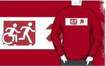 Accessible Means of Egress Icon Exit Sign Wheelchair Wheelie Running Man Symbol by Lee Wilson PWD Disability Emergency Evacuation Adult T-shirt 295