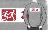 Accessible Means of Egress Icon Exit Sign Wheelchair Wheelie Running Man Symbol by Lee Wilson PWD Disability Emergency Evacuation Adult T-shirt 296