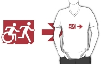 Accessible Means of Egress Icon Exit Sign Wheelchair Wheelie Running Man Symbol by Lee Wilson PWD Disability Emergency Evacuation Adult T-shirt 297