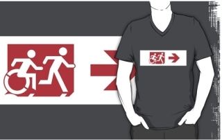 Accessible Means of Egress Icon Exit Sign Wheelchair Wheelie Running Man Symbol by Lee Wilson PWD Disability Emergency Evacuation Adult T-shirt 298