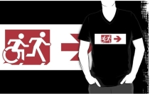 Accessible Means of Egress Icon Exit Sign Wheelchair Wheelie Running Man Symbol by Lee Wilson PWD Disability Emergency Evacuation Adult T-shirt 299