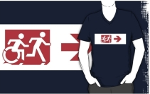 Accessible Means of Egress Icon Exit Sign Wheelchair Wheelie Running Man Symbol by Lee Wilson PWD Disability Emergency Evacuation Adult T-shirt 300