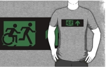 Accessible Means of Egress Icon Exit Sign Wheelchair Wheelie Running Man Symbol by Lee Wilson PWD Disability Emergency Evacuation Adult T-shirt 30