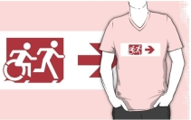 Accessible Means of Egress Icon Exit Sign Wheelchair Wheelie Running Man Symbol by Lee Wilson PWD Disability Emergency Evacuation Adult T-shirt 301