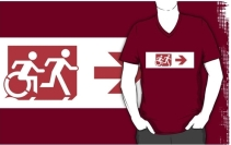 Accessible Means of Egress Icon Exit Sign Wheelchair Wheelie Running Man Symbol by Lee Wilson PWD Disability Emergency Evacuation Adult T-shirt 302