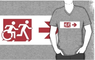 Accessible Means of Egress Icon Exit Sign Wheelchair Wheelie Running Man Symbol by Lee Wilson PWD Disability Emergency Evacuation Adult T-shirt 303