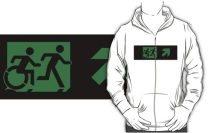 Accessible Means of Egress Icon Exit Sign Wheelchair Wheelie Running Man Symbol by Lee Wilson PWD Disability Emergency Evacuation Adult T-shirt 304