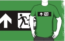 Accessible Means of Egress Icon Exit Sign Wheelchair Wheelie Running Man Symbol by Lee Wilson PWD Disability Emergency Evacuation Adult T-shirt 305