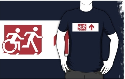 Accessible Means of Egress Icon Exit Sign Wheelchair Wheelie Running Man Symbol by Lee Wilson PWD Disability Emergency Evacuation Adult T-shirt 306