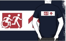 Accessible Means of Egress Icon Exit Sign Wheelchair Wheelie Running Man Symbol by Lee Wilson PWD Disability Emergency Evacuation Adult T-shirt 307