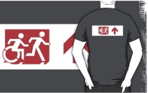 Accessible Means of Egress Icon Exit Sign Wheelchair Wheelie Running Man Symbol by Lee Wilson PWD Disability Emergency Evacuation Adult T-shirt 308
