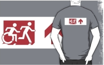 Accessible Means of Egress Icon Exit Sign Wheelchair Wheelie Running Man Symbol by Lee Wilson PWD Disability Emergency Evacuation Adult T-shirt 309