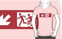 Accessible Means of Egress Icon Exit Sign Wheelchair Wheelie Running Man Symbol by Lee Wilson PWD Disability Emergency Evacuation Adult T-shirt 3