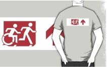 Accessible Means of Egress Icon Exit Sign Wheelchair Wheelie Running Man Symbol by Lee Wilson PWD Disability Emergency Evacuation Adult T-shirt 310