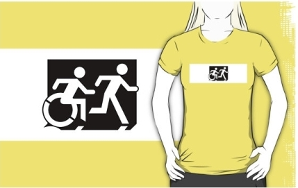 Accessible Means of Egress Icon Exit Sign Wheelchair Wheelie Running Man Symbol by Lee Wilson PWD Disability Emergency Evacuation Adult T-shirt 31