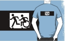 Accessible Means of Egress Icon Exit Sign Wheelchair Wheelie Running Man Symbol by Lee Wilson PWD Disability Emergency Evacuation Adult T-shirt 311