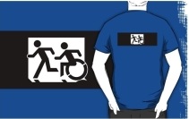 Accessible Means of Egress Icon Exit Sign Wheelchair Wheelie Running Man Symbol by Lee Wilson PWD Disability Emergency Evacuation Adult T-shirt 312