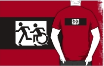 Accessible Means of Egress Icon Exit Sign Wheelchair Wheelie Running Man Symbol by Lee Wilson PWD Disability Emergency Evacuation Adult T-shirt 313