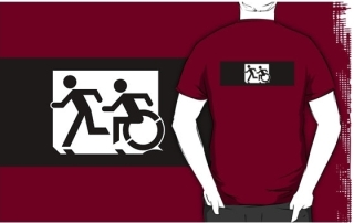 Accessible Means of Egress Icon Exit Sign Wheelchair Wheelie Running Man Symbol by Lee Wilson PWD Disability Emergency Evacuation Adult T-shirt 314